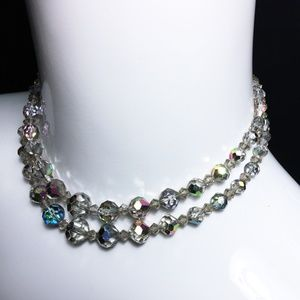 Swarovski Jewelry - Vintage 50s AB Satin Rainbow Crystal Necklace